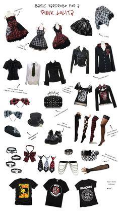 Basic wardrobe for a punk lolita by ThestralWizard.deviantart.com on @DeviantArt