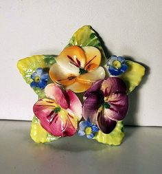 Vintage Artone Brand Star-Shaped Bone China Flowers and Leaves Brooch Pin--Made in England