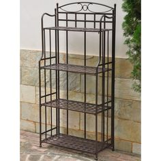 Display your plants and herbs in style with this weatherproof outdoor bakers rack. This four-tier shelf provides plenty of space and the rack has UV protection to help resist deterioration from the sun's rays. The finish is a matte brown.