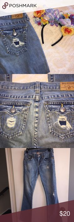 True Religion Distressed Jeans EUC True Religion distressed jeans, have some wear on the bottom hems (see photos) but nothing that impairs the look/feel of the jeans! tag says a girls sz 14 but could also fit a women's 0/24 jeans!  ✨just trying to clean out my closet, make a reasonable offer!✨ True Religion Bottoms Jeans