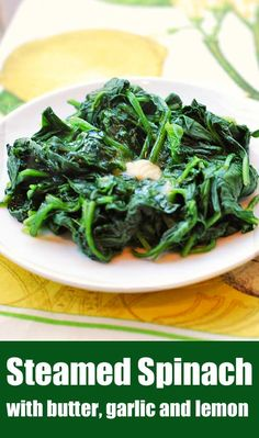 A simple recipe for healthy steamed spinach, seasoned with butter, lemon juice and garlic. Sometimes the simplest recipes are the best ones! food recipe healthy simple Steamed Spinach With Garlic And Lemon Cooked Spinach Recipes, Steamed Spinach, Simple Spinach Recipes, Simple Healthy Recipes, Steamed Food, Lemon Recipes, Healthy Meals For One, Healthy Food Blogs, Easy Meals