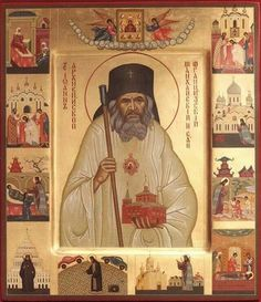* Saint John of Shanghai and San Francisco * with scenes from his life icon Orthodox Catholic, Orthodox Christianity, Catholic Saints, Religious Icons, Religious Art, San Francisco, Laura Lee, Shanghai, Greek Icons