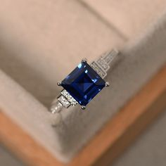 Lab sapphire ring square cut sapphire engagement by LuoJewelry