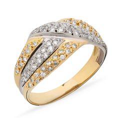 Do dia-a-dia!Anéis de ouro quanto mais se tem, mais se quer! São ótimos investimentos, muito apreciados, desejados pelas mulheres e o melhor - tem durabilidade para uma vida toda. As melhores opções para se ter em quantidade: o ouro, que traz a energia do sol, vai te deixar iluminada!* O anel é feito em ouro amarelo e ouro branco 18k.* Anel trabalhado com diamantes totalizando 65 pontos.* Peso: 4,5 g.