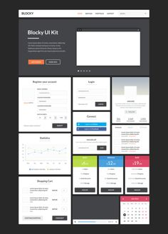 Blocky Flat UI Kit / Free PSD