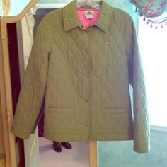 Lacoste Preppy Quilted Green Jacket w/ Pink Lining Lacoste Preppy Quilted Green Jacket with Pink Lining size 36 will fit size 0-4. Gently worn in good condition. No stains or signs of wear. Lacoste Jackets & Coats
