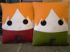 Fred and George Weasley, Decorative Pillow, Harry Potter inspired pillow. $30.00, via Etsy.