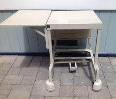 Vintage Industrial Typewriter Table Desk by TresconyAntiques Retro Typewriter, Table Desk, Vintage Industrial, Drafting Desk, Etsy, Furniture, Home Decor, Decoration Home, Writing Desk