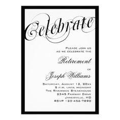 elegant black white retirement party invitations