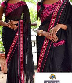 NX-46  PRICE : 1200/- FABRIC:  60gm Georget saree  Row silk blouse