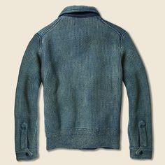 Jacquard Sweater Jacket - Mid Indigo Birdseye
