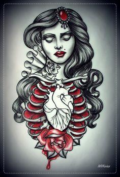 DEAD GIRL tattoo flash by oldSkullLovebyMW.deviantart.com on @deviantART