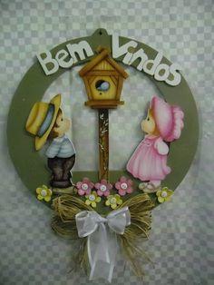 Guirlanda country casal bem vindos | Artesanatos Ingrid Carvalho | 210BEB - Elo7