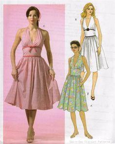 McCalls M4826 SEWING PATTERN 4-10 Retro 50's Halter Dress Vintage Rockabilly OOP