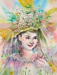Audrey Hepburn by Korea's modern artist Ryu Eunja Audrey Hepburn Photos, Fantasy Portraits, Animation, Art Poses, Vanitas, Modern Artists, House Painting, Painting Art, Art Paintings