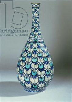 Iznik Design Ceramic Vase   Iznik-inspired bottle vase, manufactured by Maioliche Cantagalli, c ...