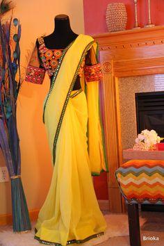 Yellow Chiffon Saree with Kutch work Blouse by Brioka on Etsy