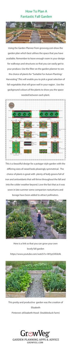 Don't forget that both the Garden Planner and your raised beds can be used right the way through the fall, into winter and beyond with careful thought. If you use the Garden Planner filter and choose the Suitable for Autumn Planting/ Harvesting option. This beautiful fall garden was created by Elizabeth, Pinterest: @Elizabeth Hood  {Stubbleduck Farm} Here is a link to our popular video Planning Your Fall Garden so that you can make one of your own www.youtube.com/...