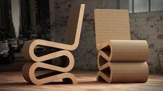 architecte et designer des années 70 et 80 Frank Gehry expérimente de nouvelles techniques de production pour la série Easy Edges dont la Wiggle Side Chair