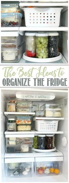 Love these fridge organization ideas! Use bins and mason jars to make food more accessible and organized. Click through for more ideas. #kitchenorganization #fridgeorganization #foodstorage #homeorganization #masonjars...