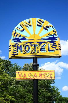 """Route 66. Classic neon sign for the Sunset Motel in Villa Ridge, Missouri, on old Rt. 66.  """"The Fine Art Photography of Frank Romeo."""""""