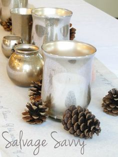 Salvage Savvy: How to make [even better] Mercury Glass - this technique uses a coat of gold paint to warm up the silver.