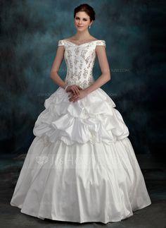 Wedding Dresses - $216.99 - Ball-Gown Off-the-Shoulder Floor-Length Taffeta Wedding Dress With Beadwork Flower(s) (002012128) http://jjshouse.com/Ball-Gown-Off-The-Shoulder-Floor-Length-Taffeta-Wedding-Dress-With-Beadwork-Flower-S-002012128-g12128