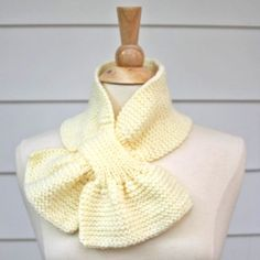 Knit scarf  scarflette  keyhole scarf cream white by spinningsheep, $35.00