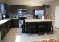 DIY Kitchen makeover. Awesome. I would rather have a plain backsplash though. Maybe white subway tiles.