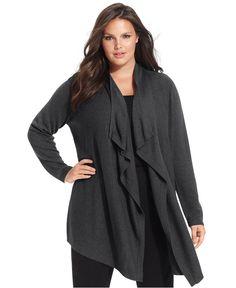 Calvin Klein Plus Size Sweater, Long-Sleeve Draped Cardigan - Plus Size Sweaters - Plus Sizes - Macy's