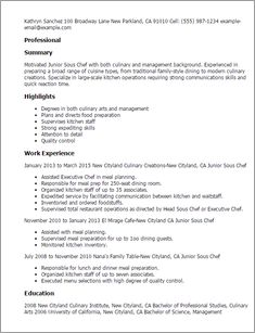 resume templates junior sous chef recipe and chefs example page - Resume Sample Chef