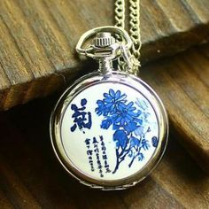 Korean Sweater Chain Guabiao Trumpet Enamel Chrysanthemum Retro Watch Unisex New With Tags Quartz Antique Watches Retro Watches, Antique Watches, Daisy Pattern, Neck Pattern, Quartz Pocket Watch, Pocket Watch Necklace, Pocket Watch Antique, Silver Enamel, 925 Silver