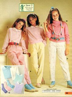 pastels...i think i had yellow pants and a pink top too...lol