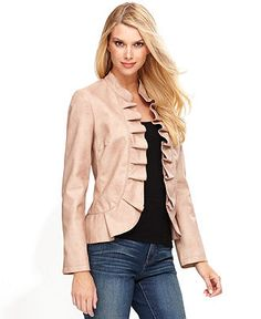 INC International Concepts Jacket, Faux-Leather Ruffle - Jackets & Blazers - Women - Macy's Blazer Jackets For Women, Girl Fashion, Womens Fashion, Fashion Branding, Style Guides, Cap Sleeves, Fall Outfits, At Least, Leather Jacket