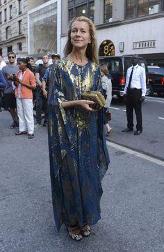 Natalie Joos arrives at the Marchesa runway show