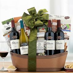 Wine Gift Baskets - Estancia Wine Gift Basket Wine Gift Baskets, Wine Gifts, White Wine, Wines, Crates, Red And White, Bottle, How To Make, Wine Baskets