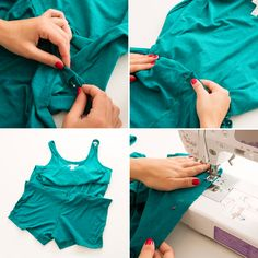Use a cotton tank and shorts to DIY a romper.