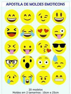 Apostila de Moldes de Emoticons Eid Crafts, Felt Crafts Diy, Valentine Crafts, Crafts For Kids, Emoji Theme Party, Emoji Craft, Emoticons, Smiley Emoji, Unicorn Crafts
