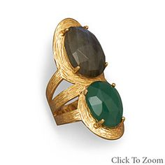 Labradorite and Green Onyx Gold Ring by Salerno's Jewelry Stores on Opensky