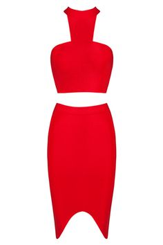 Honey Couture - Red Bandage Halter Crop Top & Skirt Set
