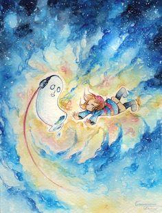 Undertale Space Buddies Art Print by TransmissionDream - X-Small Anime Undertale, Undertale Cute, Pretty Images, I Cool, Buy Frames, Fan Art, Deviantart, Watercolor, Art Prints