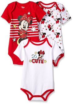 728970632b5 Disney Baby Girls Minnie Mouse 3 Pack Bodysuits Multi red 0 3 M
