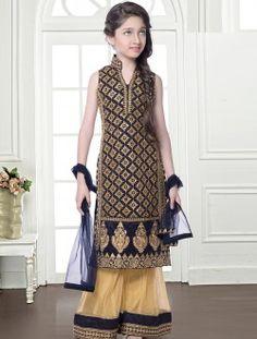Debonair Navy Blue And Beige Pakistani Style Kids Salwar Suit