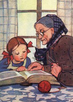 Martta Wendelin (grandmother, cat and granddaughter, reading) People Reading, Girl Reading Book, Reading Art, Kids Reading, I Love Books, My Books, Lectures, Children's Book Illustration, Vintage Children