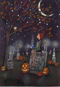 """""""For Great Aunt Hattie"""" (Halloween) by Deborah Gregg - aceo"""