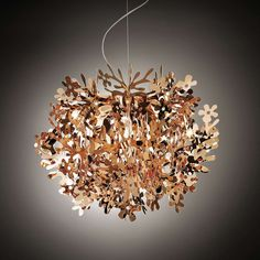Fiorella mini gold silver copper table's natural details conjure up a world covered in flora. Color Cobre, Copper Color, Pendant Chandelier, Pendant Lighting, Copper Table, Metallic Look, Branches, Italian Lighting, Hanging Lights
