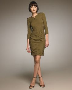 Burberry Ruched Zip Dress