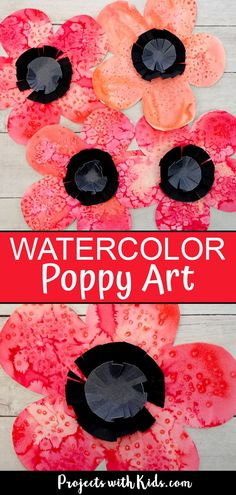 Beautiful Watercolor Poppy Art Kids can Make This watercolor poppy art is such a fun and easy art project for kids. Use easy watercolor techniques kids of all ages will love. A great Remembrance Day craft or fall flower art project. Remembrance Day Activities, Remembrance Day Poppy, Poppy Craft For Kids, Art For Kids, Watercolor Poppies, Easy Watercolor, Fall Art Projects, Projects For Kids, Project Ideas