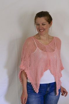 Pink poncho, loose knit poncho, cover up sweater, pink sweater, boho cover up, light poncho, pink cover up, beach cover up, ready to ship