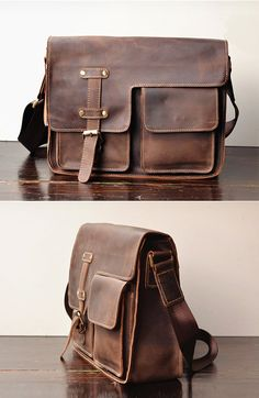 Simple Leather Briefcase - Messenger Bag - Leather Laptop - Men's Bag - leather case--T71
